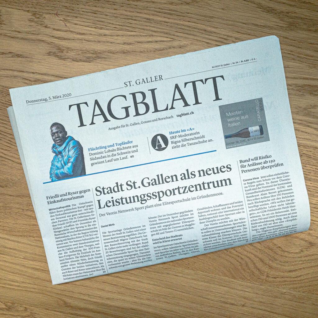 Elitesportschule Sportfeld Tagblatt
